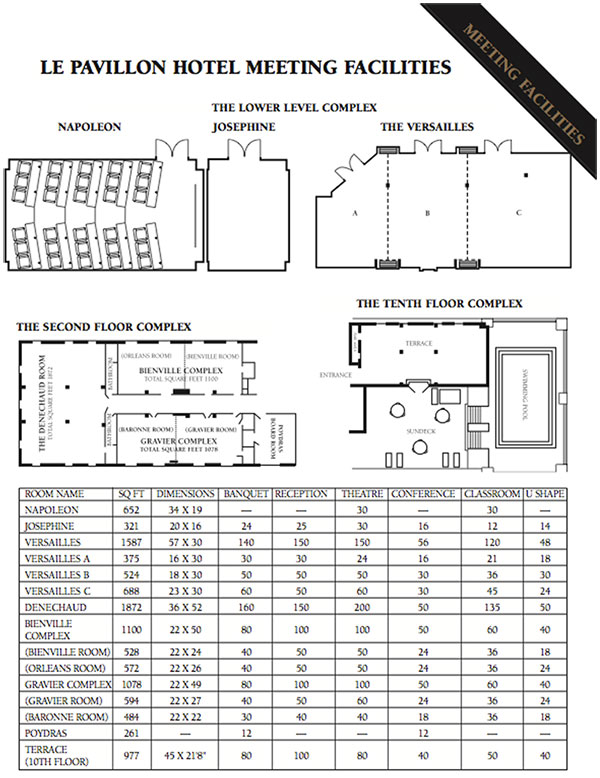 Le Pavillon Louisiana Floor Plans